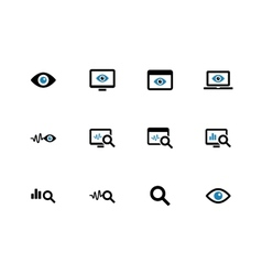 Monitoring duotone icons on white background vector