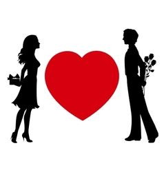 Silhouettes of man and woman with gifts vector image