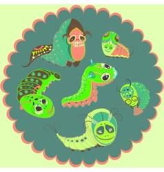 Monsters caterpillars vector image