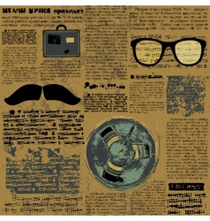 Newpaper with hipster elements vector