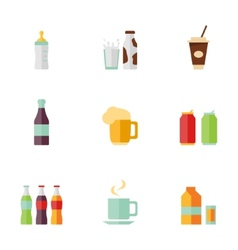 Flat icons drink set vector