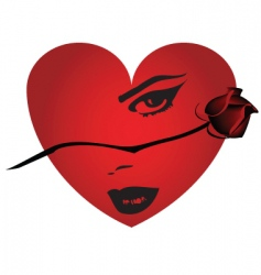 Heart with portrait and rose vector