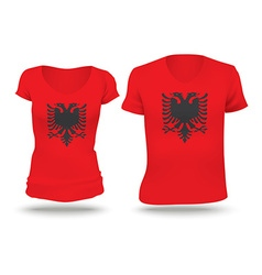 Flag shirt design of albania vector