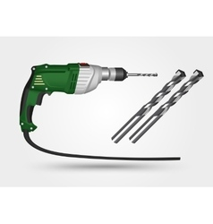 Electric drill and drill bit vector