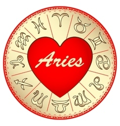 Zodiac sign aries for lovers on valentine vector