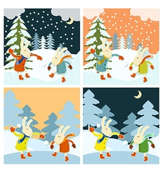 Winter games of hares vector