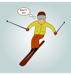 Skier jumping pose on winter outdoor background vector
