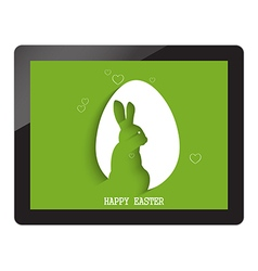 Happy easter with egg shadow with bunny on tablet vector