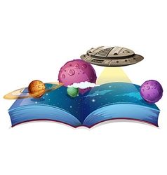 Book of astronomy with spaceship in galaxy vector image
