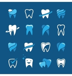 Teeth icon set on blue background vector image