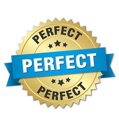 Perfect 3d gold badge with blue ribbon vector