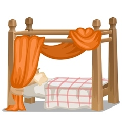 Bed with orange canopy interior items isolated vector