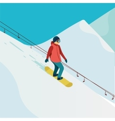 Active man snowboarder riding on slope vector