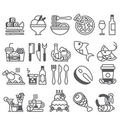 Black line set of flat icons and elements vector