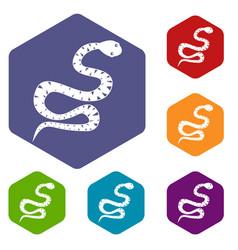 Black snake wriggling icons set hexagon vector