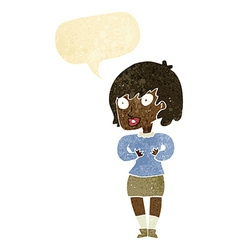 Cartoon woman making who me gesture with speech vector