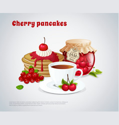 cherry pancakes vector image vector image