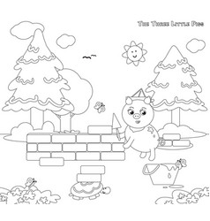 Coloring three little pigs 7 the bricks house vector