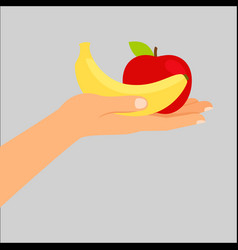 hand holding banana and apple vector image vector image