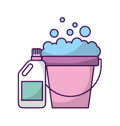 Laundry bucket with detergent bottle vector