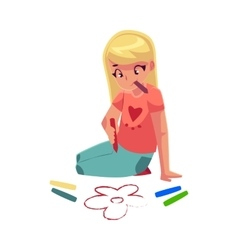 Little girl sitting on floor and drawing flowers vector