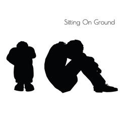 Man in sitting pose on ground vector