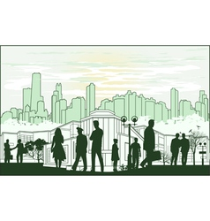 outline green silhouette of the city with crowd of vector image