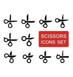 scissors set with red signboard vector image vector image