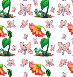 Seamless butterfly and flower vector image vector image