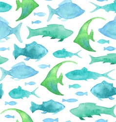 Seamless watercolor fish pattern vector image
