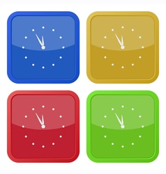 set of four square icons - with clock vector image vector image