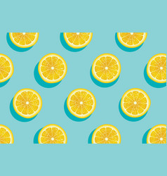 slices of fresh yellow lemon summer background vector image vector image