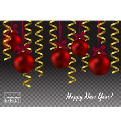 Template of glass christmas red ball shiny toy vector