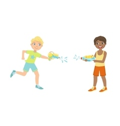 Two boys having a water pistol fight vector
