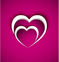 two heart from paper with shadow effect vector image vector image