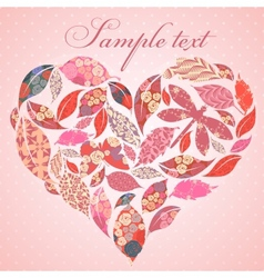 Valentine heart of patch leaves vector image vector image