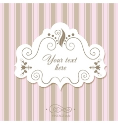 Vintage border frame on a striped background vector image vector image