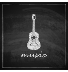 Vintage with the guitar on blackboard background vector