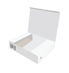 White opened box with barcode vector