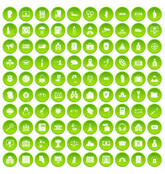 100 crime icons set green circle vector
