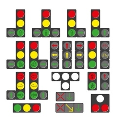 Set of different traffic lights isolated on white vector