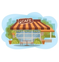 Cafe building facade with outdoor street chair vector