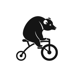 Bear on a bike icon simple style vector
