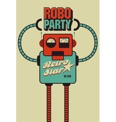 Party vintage poster with retro robot vector