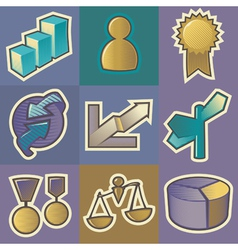Multicolored business icons vector