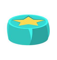 Round beanbag chair in blue color with yellow star vector