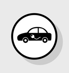 Electric car sign  flat black icon in vector