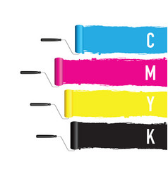 Cmyk printing roller vector