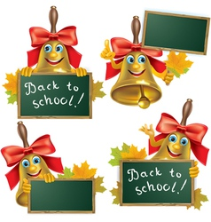 Funny school bell with blackboard vector image