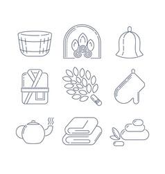 spa sauna linear icons fireplace mitt herbal vector image